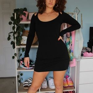 Volcom Black Long Sleeve Mini Dress